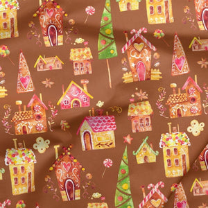 Sweatshirt Knit - Gingerbread Houses in Brown-Jelly Fabrics