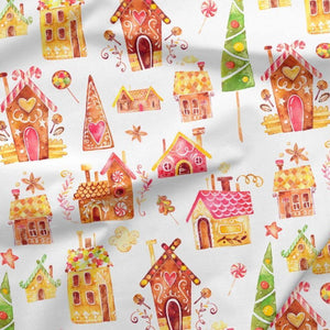 Sweatshirt Knit - Gingerbread Houses in White-French Terry-Jelly Fabrics