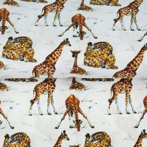Cotton Jersey Fabric - Giraffes on White-Jersey Fabric-Jelly Fabrics