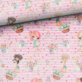 French Terry Fabric - Girls with Bunnies on Pink Stripes-French Terry-Jelly Fabrics