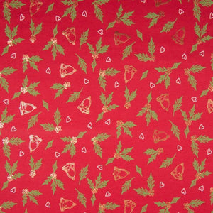 PRE-ORDER!!! - Cotton Jersey Fabric - Foil Printed Mistletoe in Red-Jersey Fabric-Jelly Fabrics