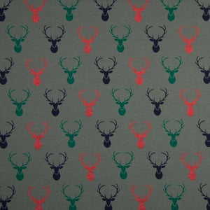 PRE-ORDER!!! - Single Jersey Fabric - Glitter Reindeer in Grey-Jersey Fabric-Jelly Fabrics