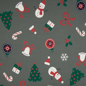 PRE-ORDER!!! - Single Jersey Fabric - Glitter Christmas Presents in Grey-Jersey Fabric-Jelly Fabrics