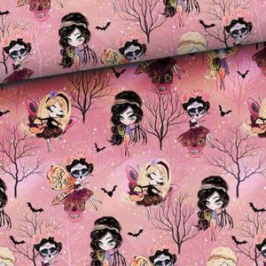 PRE-ORDER!!! - French Terry Fabric - Halloween Fairies in Light-French Terry-Jelly Fabrics