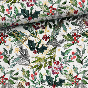 PRE-ORDER for beginning of December!!! - French Terry Fabric - Christmas Holly