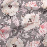 French Terry Knit - Pale Roses on Grey-French Terry-Jelly Fabrics