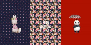 Cotton Jersey Panel - Panda and Bunny Floral Dark Blue/Red-Jersey Panel-Jelly Fabrics