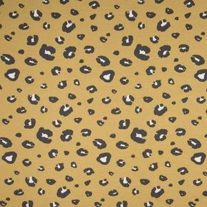 Organic French Terry Fabric - Panther Spots in Dusty Yellow