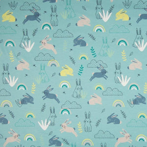 Jersey Fabric - Rabbits among Rainbows in Mint-Jersey Fabric-Jelly Fabrics