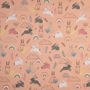 Jersey Fabric - Rabbits among Rainbows in Salmon