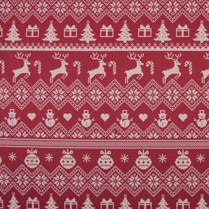 Brushed French Terry Fabric - Reindeer in Bordeaux-Jelly Fabrics