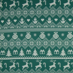 Brushed French Terry Fabric - Reindeer in Green-Jelly Fabrics