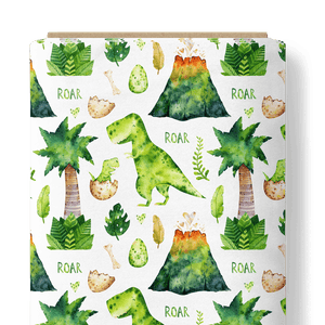 French Terry Knit Fabric - Roar Dinosaur in White-French Terry-Jelly Fabrics