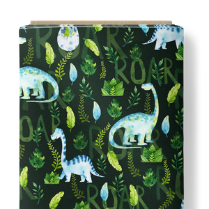 French Terry Knit Fabric - Roar Dinosaurs in Dark Green-French Terry-Jelly Fabrics
