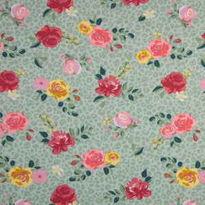 Jersey Fabric - Roses in Dusty Mint