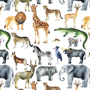 Organic Jersey Fabric - Safari Animals in White-Organic Jersey-Jelly Fabrics