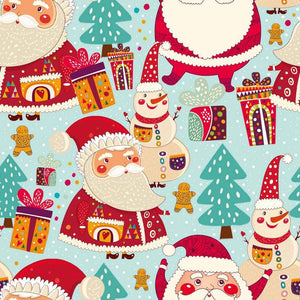 PRE-ORDER!!! - Organic Jersey Fabric - Santa and Snowman in Light Blue-Organic Jersey-Jelly Fabrics