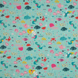 Cotton Jersey Fabric - Sea Life in Mint-Jersey Fabric-Jelly Fabrics