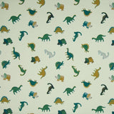 Cotton Jersey Fabric - Small Dinos in Dusty Green-Jelly Fabrics