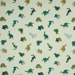 Cotton Jersey Fabric - Small Dinos in Dusty Green