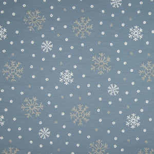 PRE-ORDER!!! - French Terry Knit Fabric - Glitter Snowflakes in Dusty Blue