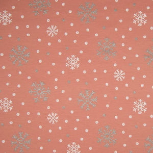 PRE-ORDER!!! - French Terry Knit Fabric - Glitter Snowflakes in Dusty Rose