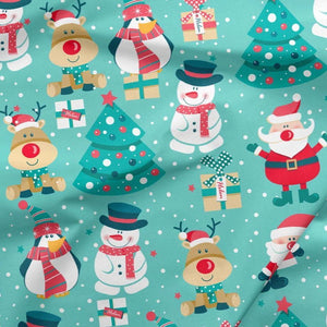 Sweatshirt Knit - Snowman and Santa-Jelly Fabrics
