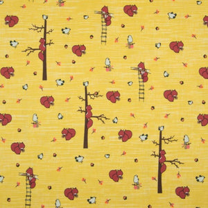 Jersey Fabric - Squirrels in Ochre