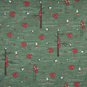 Jersey Fabric - Squirrels in Dusty Green
