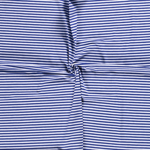 Jersey Fabric - Cobalt Blue with White Stripes-Jersey Fabric-Jelly Fabrics
