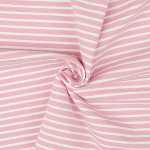 Jersey Fabric - Light Pink with White Stripes