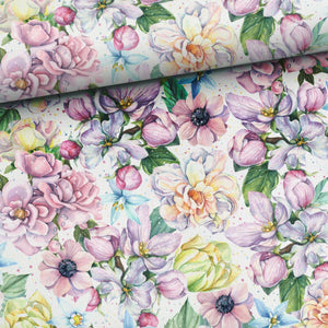 French Terry Knit Fabric - Summer Flowers