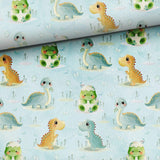 French Terry Fabric - Cute Dinosaurs-French Terry-Jelly Fabrics