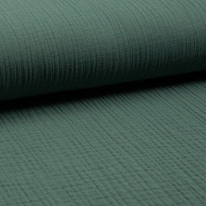 Triple Gauze Fabric - Solid in Dusty Green-Muslin Fabric-Jelly Fabrics