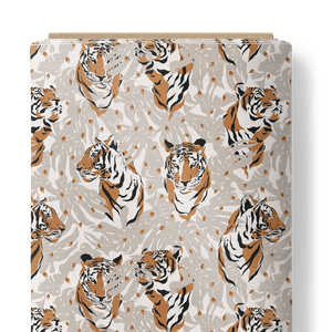 French Terry Fabric - Tigers among Leaves-French Terry-Jelly Fabrics