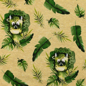 Stretch Jersey Fabric - Baby Triceratops in Sand-Jersey Fabric-Jelly Fabrics
