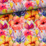 French Terry Fabric - Tropical Flowers-French Terry-Jelly Fabrics