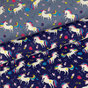Cotton Jersey Fabric - Rainbow Unicorns in Blue-Jelly Fabrics