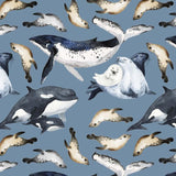 PRE-ORDER!!! - Organic Jersey Fabric - Whales and Seals in Blue-Organic Jersey-Jelly Fabrics