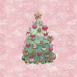 Sweatshirt Knit Panel - Christmas Tree in Pink