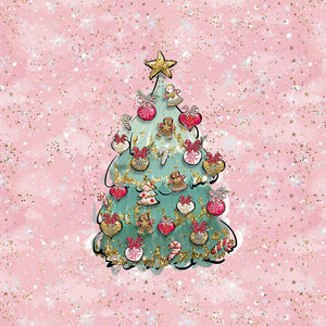 Sweatshirt Knit Panel - Christmas Tree in Pink-Jelly Fabrics