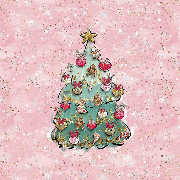 PRESALE!!! - Sweatshirt Knit Panel - Christmas Tree in Pink