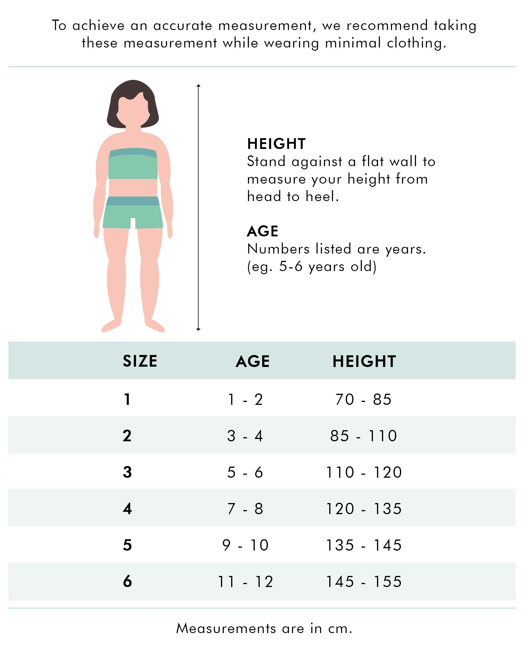 FUNFIT Junior Size Chart (Old)