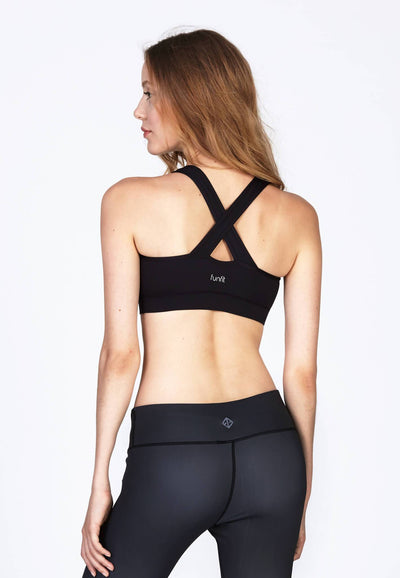 X Fit Tactel® Bra in Jet Black - FUNFIT