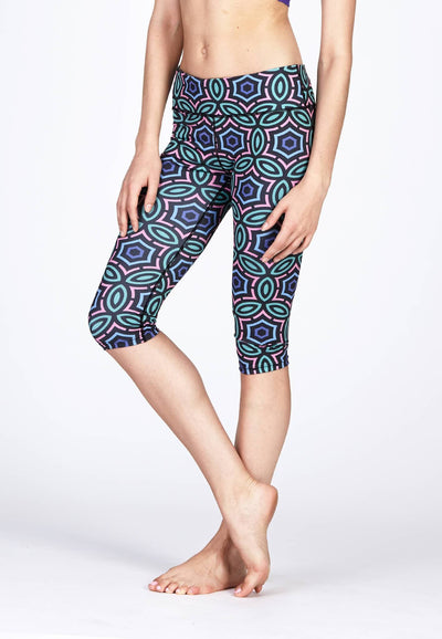 Active Capris in Jewel Print - FUNFIT
