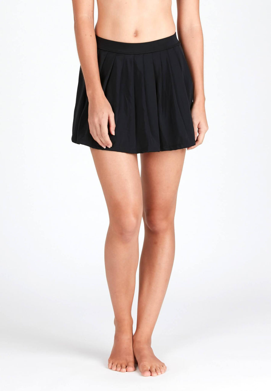 Pleated Swim Skorts in Black - FUNFIT