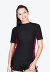 UPF50+ Short Sleeve Sunvest in Black/ Magenta (XS - 2XL) - FUNFIT