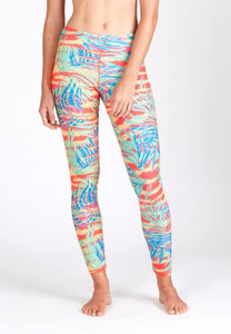 Swim Tights in Palm Abstract Neon Print (XS - 2XL)