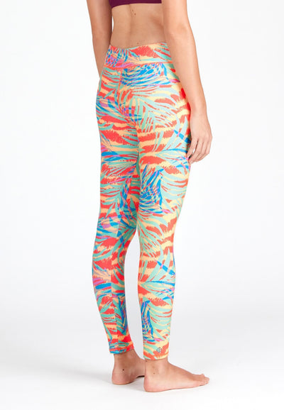 Swim Tights in Palm Abstract Neon Print - FUNFIT