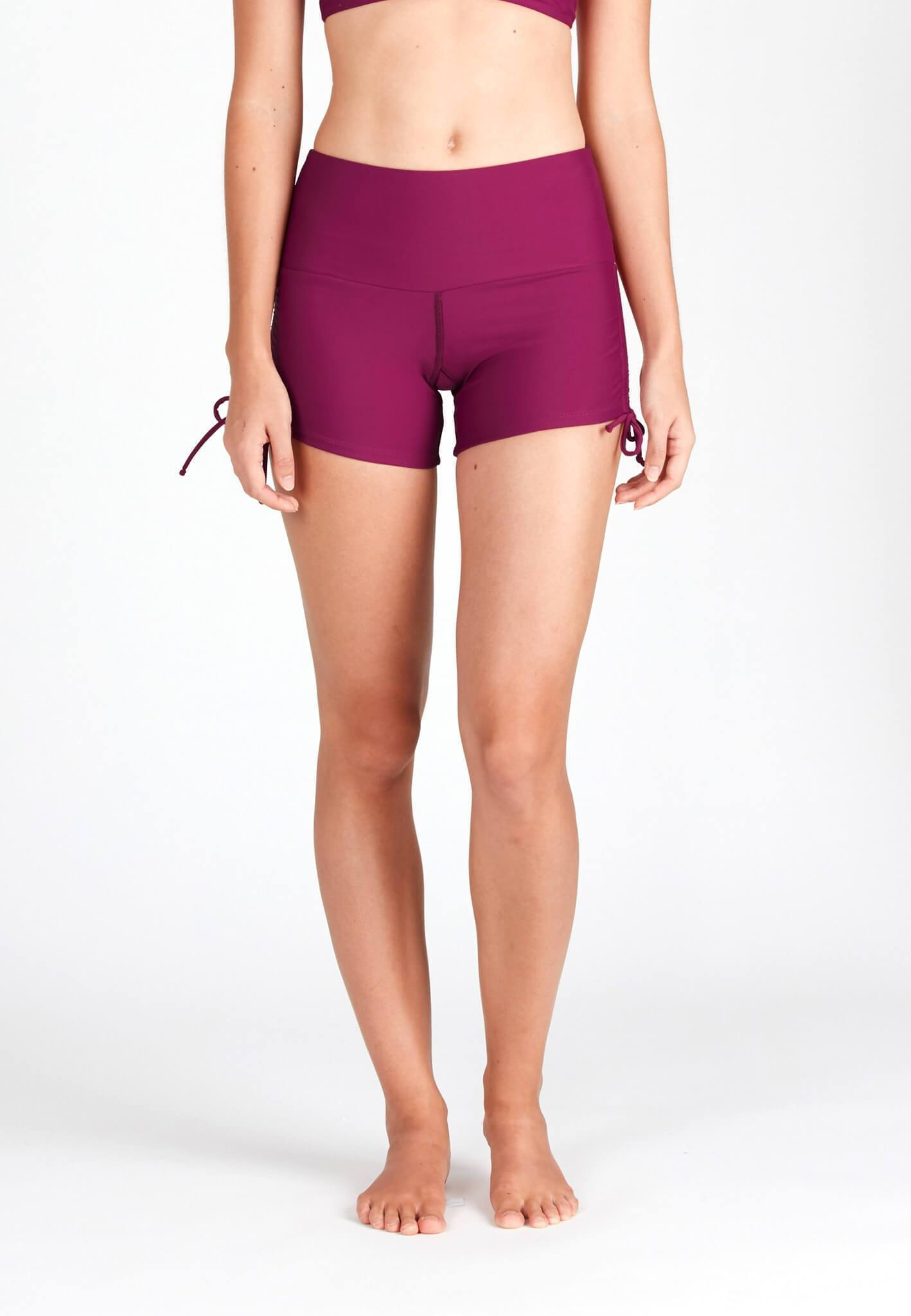 Wide Waistband Shorts in Mulberry - FUNFIT
